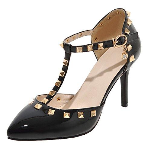 AIYOUMEI Damen Lack Spitz Knöchelriemchen T-Spangen Pumps mit Nieten und 8cm Absatz Stiletto High Heel Elegant Schuhe Schwarz