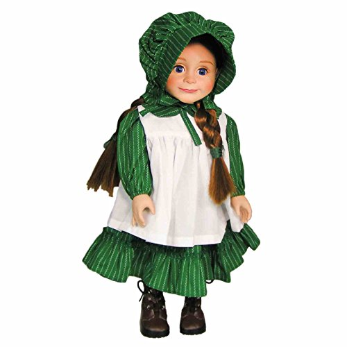 Officially Licensed Little House on the Prairie 18 Inch Doll American Prairie Dress Outfit, Authentic 1880's Design Calico Dress & Bonnet with White Apron. Fits American Girl (Prairie Girl Doll)