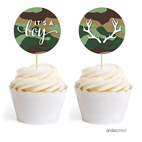 Flat Cup Woodland (Andaz Press Woodland Camouflage Boy Baby Shower Collection, Cupcake Topper DIY Party Favors Kit, It's a Boy!, 20-Pack)