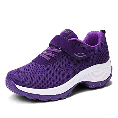 T-JULY Flats Women Platform Sneakers Breathable Mesh Lace-up Basket Women Heel Wedges Shoes for Women Creepers -