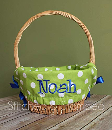 (Personalized Easter Basket Liner - Green Polka Dot - Personalized with Name)