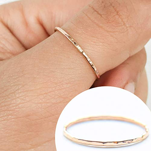 (1 Stacking Ring 14k Rose Gold Filled, Dainty Little Plain Band, Size 9)