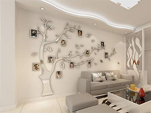 Glass figurines Picture Frame - 3D Acrylic Tree Photo Frame Wall Stickers Crystal Mirror Stickers Paste On TV Background Wall DIY Family Photo Frame Wall Decor
