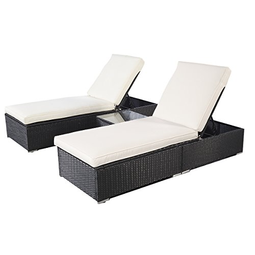 Tangkula 3 Pcs Wicker Outdoor Furniture Pool Chaise Lounge Chair with Table Black