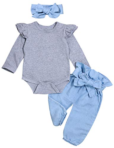 Newborn Baby Girls Clothes Ruffle T-Shirt + Floral Pants + Headband + Hat Outfit Sets (Blue Gray, 0-3 Months)