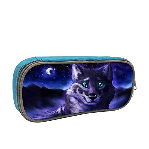 Pencil Case Night Wolf Green Eye Pen Bag Organizer Large Capacity -