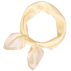 LMVERNA Square Satin Scarf for Women Polka Dot Ribbon Scarves 27 by 27 Inch