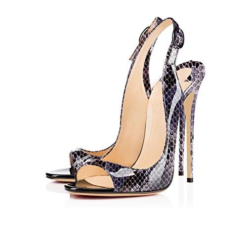Toe da Slingback Python Tacco Cinturino Fibbia Scarpe Donna con Peep a Sandali Spillo Caviglia lila elashe wU5HIq15