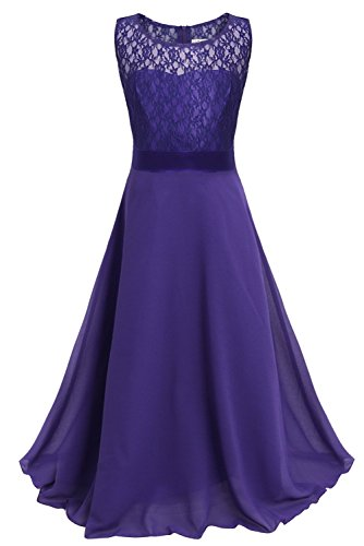 CHICTRY Big Girls Chiffon Lace Party Wedding Bridesmaid Dress Junior Maxi Dance Ball Gown Deep Purple 11 ()