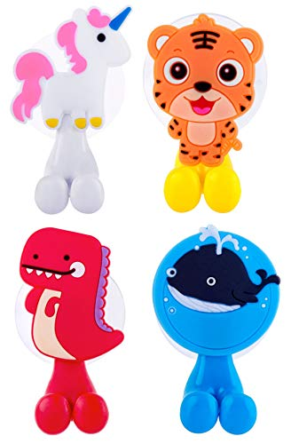 Farber Baby Toothbrush Holder, Kids Toothbrush Holder Set with Suction Cup Hook Wall Mounted Organizer | Toddler Kids Bathroom Accessories and Decor | Unicorn/Cheetah/Dino/Whale - 4 Pack
