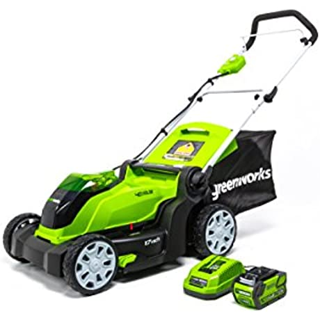 Greenworks 17 Inch 40V Cordless Lawn Mower 4 0 AH Battery Included MO40B411