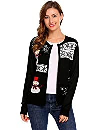 Women's Christmas Snowman and Snowflakes Sweater Knit Cardigan