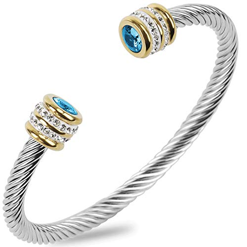 Winhime Birthstone Cable Bangle Bracelets for Women, Stainless Steel Twisted Cable Wire Bracelet for Teen Girls Designer Inspired Cuff Bracelet in Two Tone Silver Gold (Dec-Turquoise)