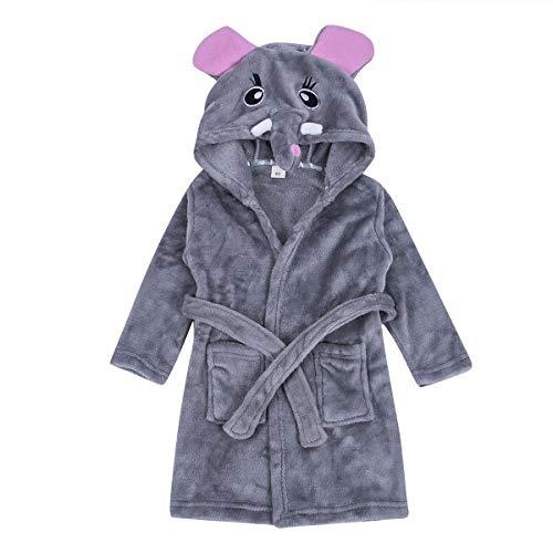 Baby's Hoodie Bath Towel,Unisex Kids Hooded Cartoon Animal Flannel Bathrobe Sleepwear 1-7 ()