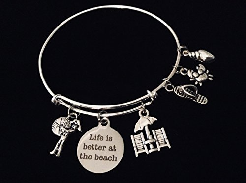 Life Is Better at the Beach Adjustable Bracelet Expandable Charm Bangle Ocean Nautical Vacation Jewelry One Size Fits All Gift Flip Flops Beach Chair Crab Shell Beach Ball Custom Options Available]()