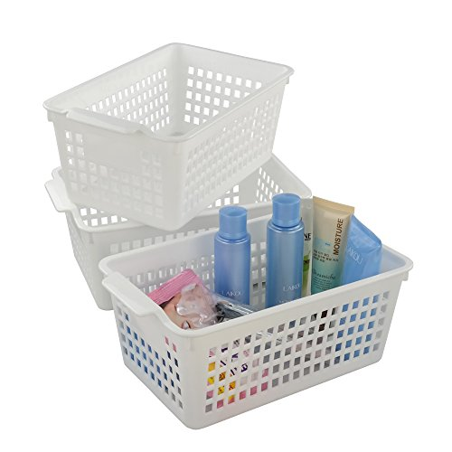 Fiaze White Bathroom Storage Basket for Health and Beauty Products/ Supplies, Set of 3