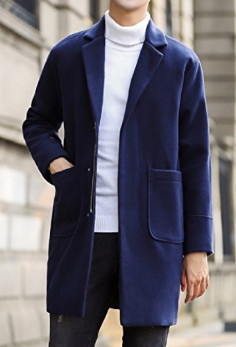 Mens Peacoats Jacket Overcoat Sections Youngsters Winter Purplish aicessess Blue Long HA6q11