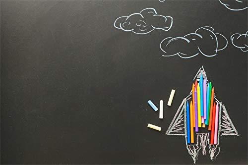 (AOFOTO 6x4ft Blackboard Chalks Pencils Background for Graduation Back to Shcool Black Chalkboard Backdrop Poster Banner Preschool Kids Senior Students Grads Photography Studio Props)