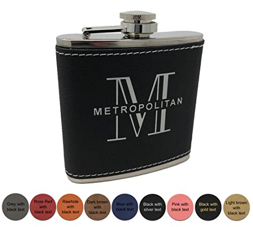 Personalized Leatherette Flask - Free Engraving - Choose from 9 colors (Pink w/ black (Engraved Textured Stainless Steel Flask)