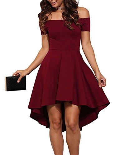 Hibluco Women's Fashion Off Shoulder Short Sleeve High Low Irregular Skater Dresses (Medium, Wine Red)