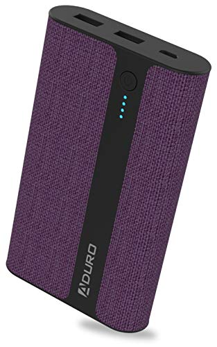 Aduro Fabric External Battery 12,000mAh Power Bank, Cell Phone Battery Power Pack 12,000mAh Portable Battery Charger for Phone Battery Backup Compatible with iPhone Xs, Xs Max, iPad, Galaxy S8(Purple)