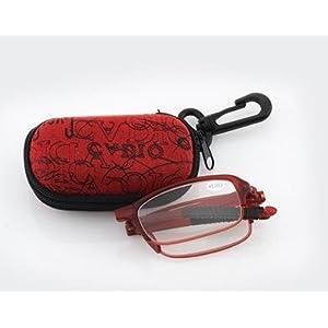 Compact Red Full Frame Reading Glasses - Portable Folding Eyeglasses Magnifier Unisex Men Women Clear Vision Pocket Reader Slim Mini Reader Glasses Eyewear w/ Clip Holder Zipper Case +3.50