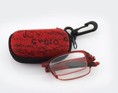 Fold Folding Full Frame Rim Reading Glasses Eyeglasses Eyewear +1.50 Crystal Vision Flex Temple w/ Carrying Travel Holder Zipper Case for Men - Rims Moon Full