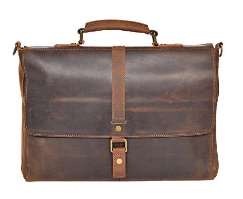 Echtes Leder Organizer Tasche Aktentaschen Schulter Kreuzkörper Büro Arbeit Schulranzen H8127 Hellbraun