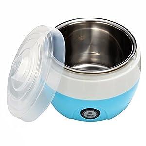 OUNONA 1L Automatic Yogurt Maker - Electronic Stainless Steel Tank Home Yogurt Making Machine with US Plug (Blue)
