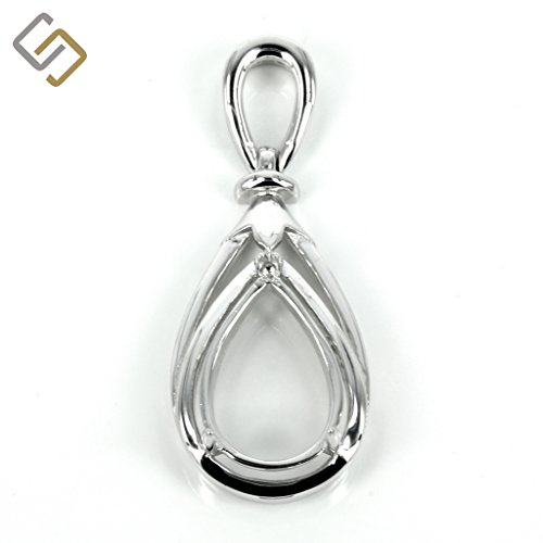 Pear shaped pendant with soldered loop and bail in sterling silver for 10x14mm pear stones