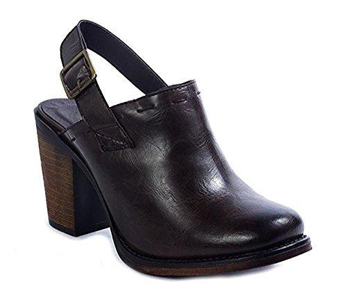 MVE Shoes Women's Chunky Med Heel Clogs- Faux Saude Studded Platform Mule- Back Strap Comfort Shoe, Brown Size 8.5