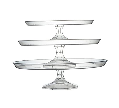 Platter Pleasers Plastic Cupcake/Cake Stand - 3 Piece set (Clear)