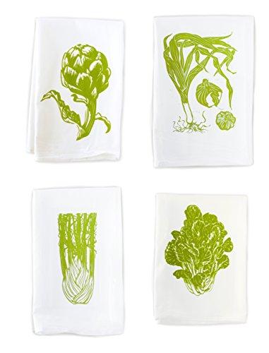 Rigel Stuhmiller Green Vegetable Garden Kitchen 4 Pack Assortment Screenprinted Cotton Flour Sack Dish Towels