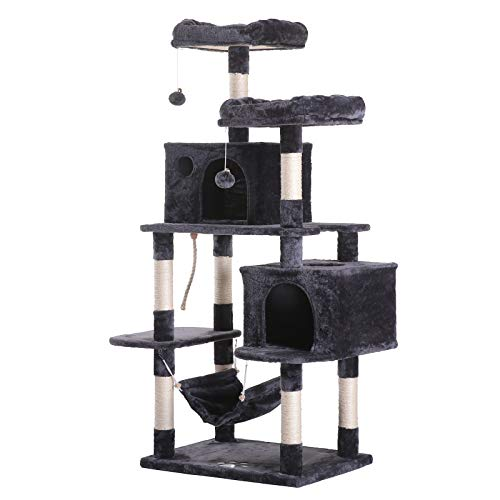Hey-bro 61.5' Extra Large Multi-Level Cat Tree Condo Furniture with Sisal-Covered Scratching Posts,...