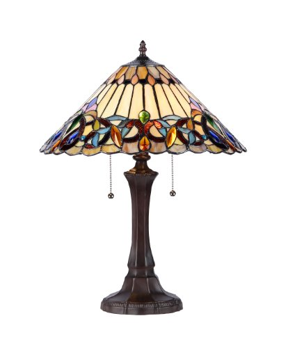 (Chloe Lighting CH33318VI16-TL2 Ambrose Tiffany-Style Victorian 2-Light Table Lamp, 21.9 x 16.54 x 16.54