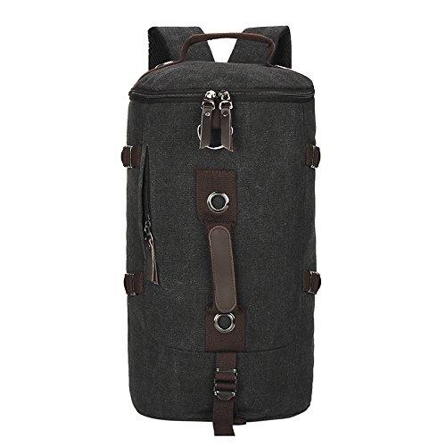Meoaeo Montañismo Canvas Bag Back Estilo Europeo Y Americano Del Hombre Bolso Bolso De Viaje Negro Lienzo black