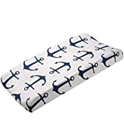 Navy Anchors Contoured Changing Pad Cover