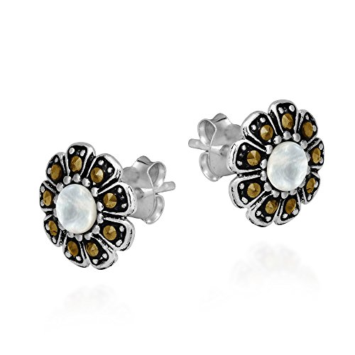 Structured Daisy Mother of Pearl and Marcasite Style Pyrite .925 Sterling Silver Post Earrings