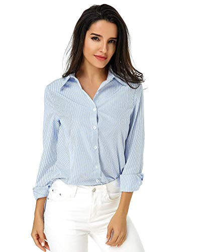 Spcial Blouse Loisir Simple Automne Rayures Revers Manches Style Tops Femme Printemps Chemise Branch Shirt Affaires Elgante Office Hellblau Boutonnage Longues 4zgcvR1wpw