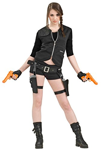 Treasure Huntress Tomb Vixen Thigh Holster Set w/ Guns Adult Halloween Costume Accessory (XFO16)