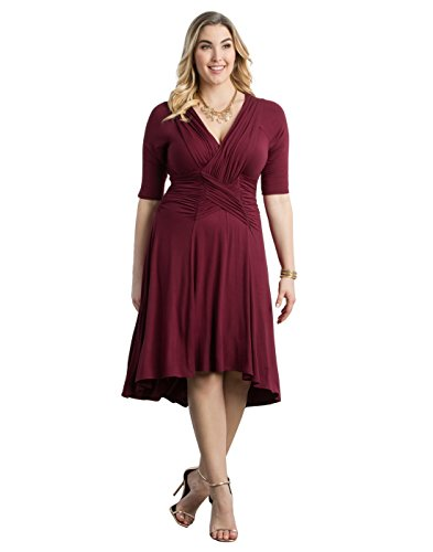 Kiyonna Women's Plus Size Refined Ruched Dress 4X Merlot