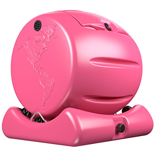 The Cutest Composter in the World in Pink, Made in the USA, Food Safe, BPA and Rust Free, No Assembly Required, Envirocycle Mini Composting Tumbler Bin and Compost Tea Maker (Ceramic Leaves Base)