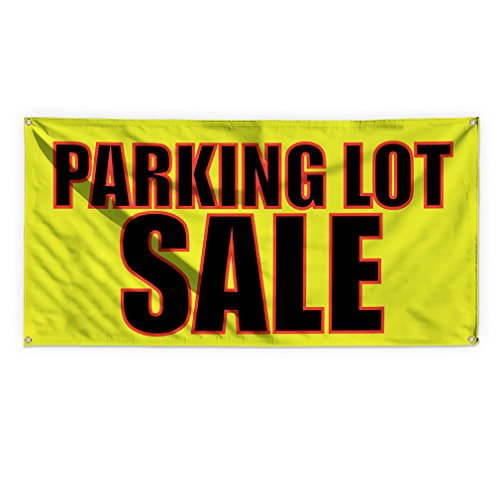 Parking Lot Sale #1 Outdoor Advertising Printing Vinyl Banner Sign With Grommets - 2ftx3ft, 4 Grommets by Sign Destination