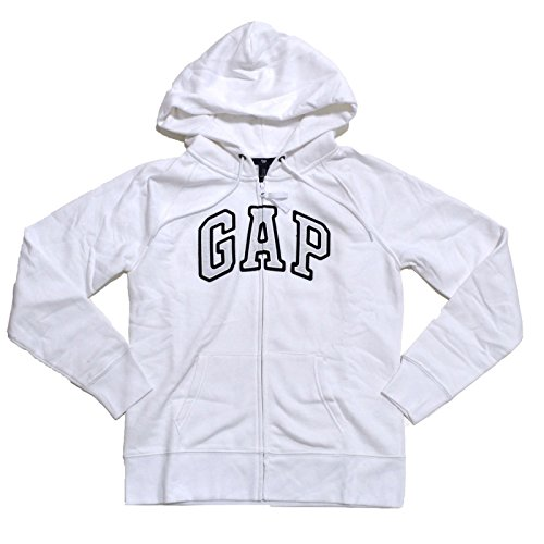 (GAP Womens Fleece Arch Logo Full Zip Hoodie (White, XX-Large))
