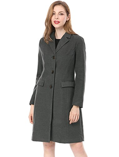 (Allegra K Women's Notched Lapel Button Closure Long Coat XS Grey)