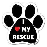 I Love My Rescue Paw Shape Car, Truck, Refrigerator