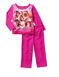 Paw Patrol Little Girls' Skye, Chase and Marshall 2-Piece Flannel Pajama Set