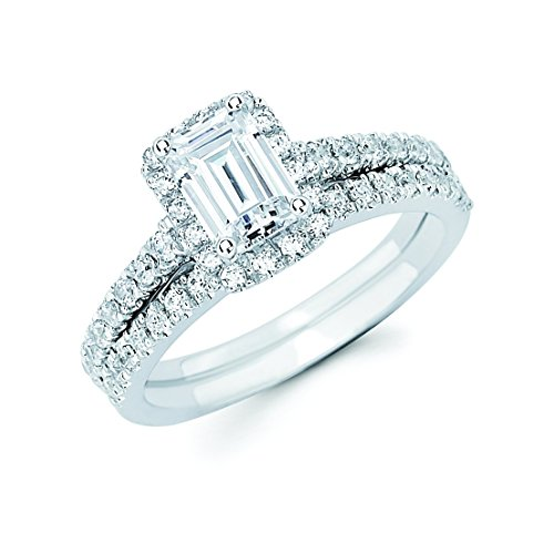 14k White Gold 1.33 c.t. TW Emerald Cut Diamond Halo Wedding Engagement Ring Set (GH,VS2-SI1)