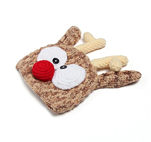 CX-Queen Handmade Crochet Knit Reindeer Hat Antlers Christmas Baby Hats Photo Photography Prop
