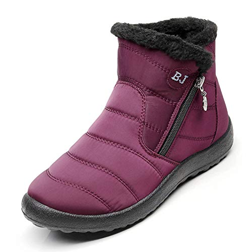 Little Happiness 2019 Winter Boots Snow Boots Casual Boots Platform Waterproof Ankle Boots Plus Size Shoes,Red1,10.5